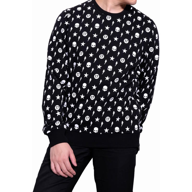 HYDROGEN ALLOVER CREWNECK SWEATSHIRT(BLACK)