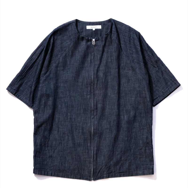RICEMAN Zip Up Half Sleeve Shirt(INDIGO)