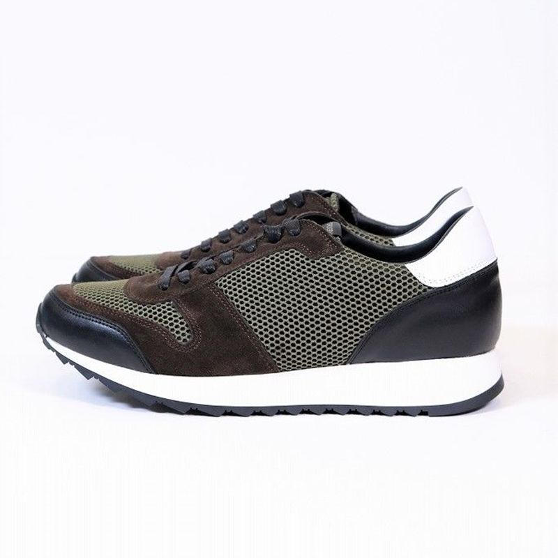 HYDROGEN MESH×LEATHER RUNNING SNEAKER(GREEN)