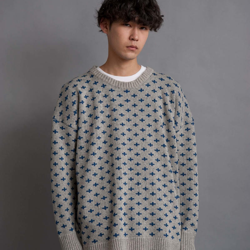 DISCOVERED CROSS KNIT(GRAY)