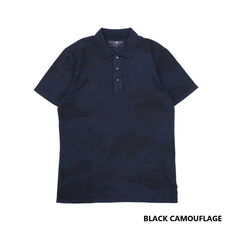 HYDROGEN CAMO SKULL POLO SS(BLACK CAMOUFLAGE)
