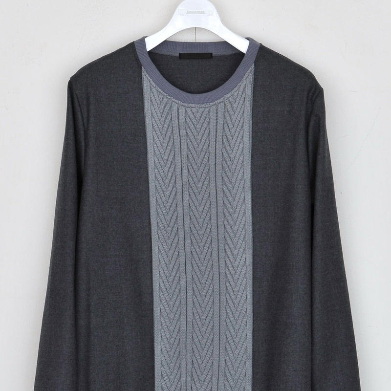 DISCOVERED KNIT MIX PULLOVER(GRAY)