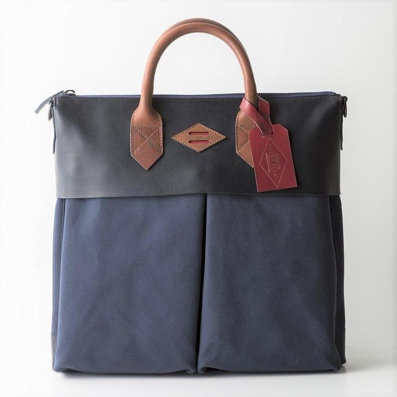 LEON FLAM Sac21H Comte de la Vaulx/Leather×Camvas(Blue)