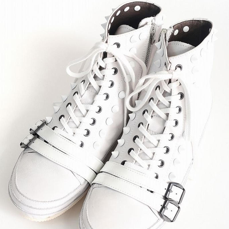 SHAREEF HIGH CUT LEATHER SNEAKER(White)