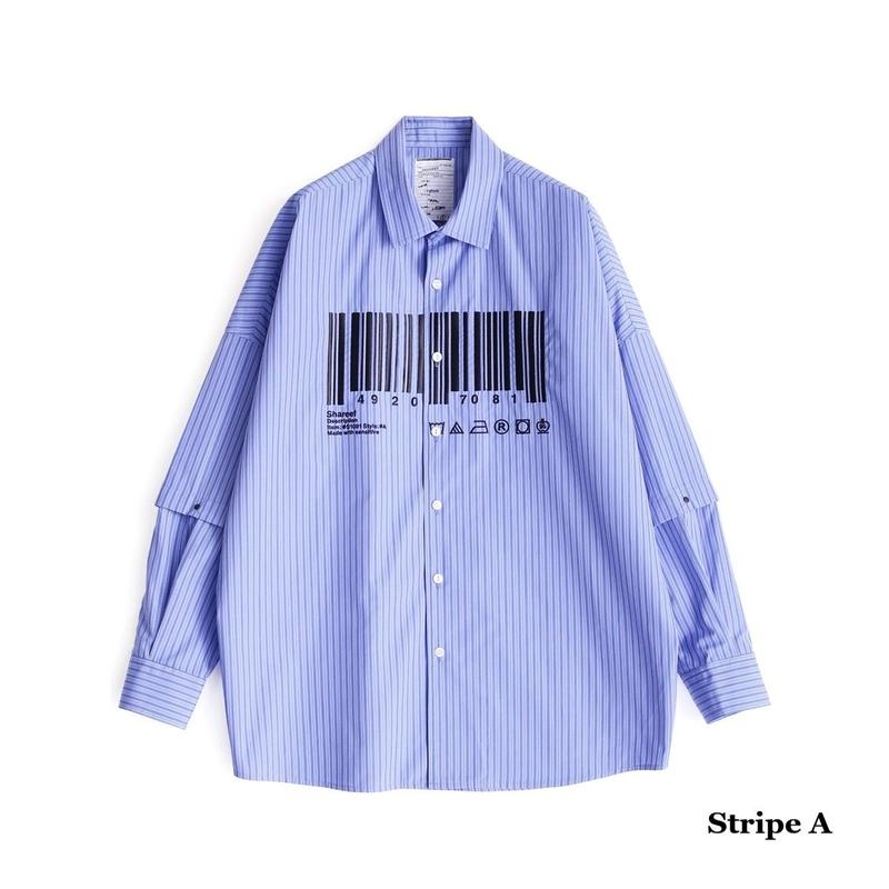 """SHAREEF """"BARCORD""""SEPARATE SLEEVE SHIRTS(Stripe A)"""