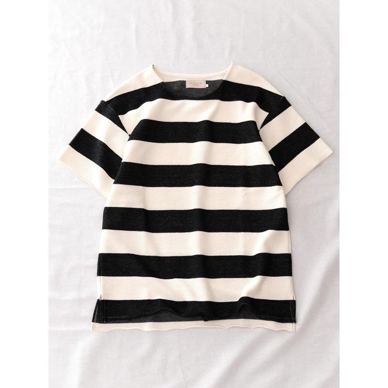VALLIS by FACTOTUM 太ボーダーBIG-Tシャツ(BLACK)