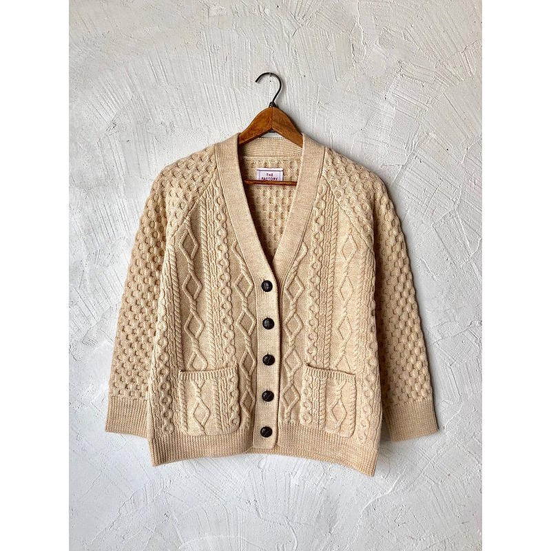 【WOMEN'S】THE FACTORY ボイルウール模様編みカーディガン(O.White)