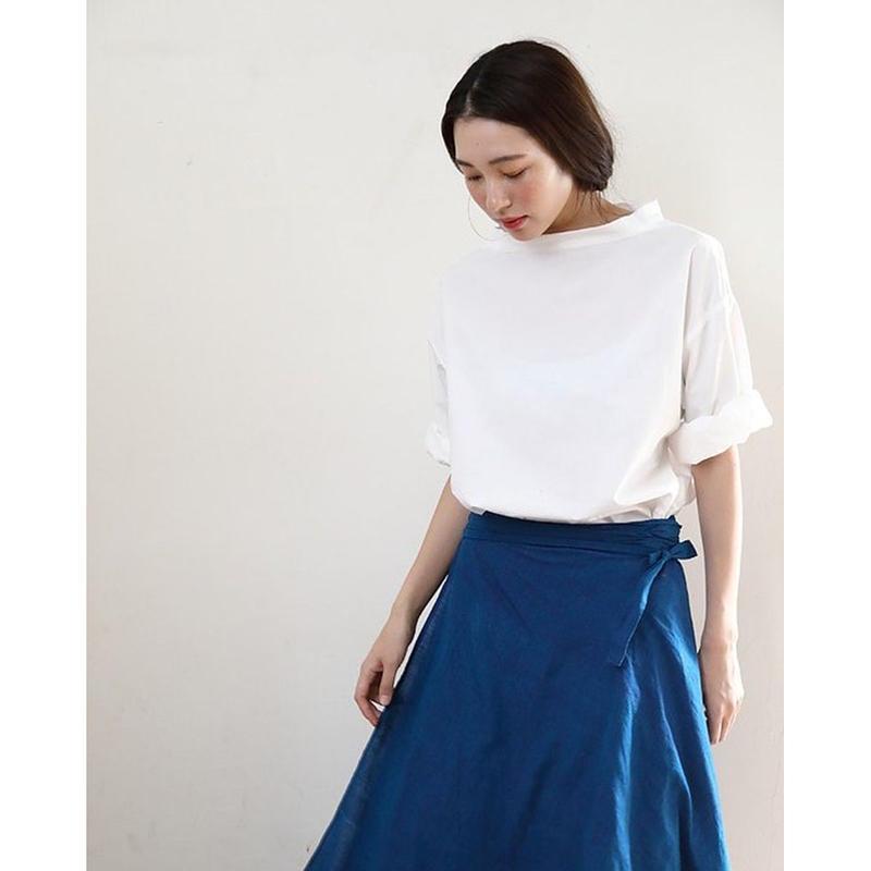 【WOMEN'S】THE FACTORY タイプライターボトルネックシャツ(White/Black/Blue)