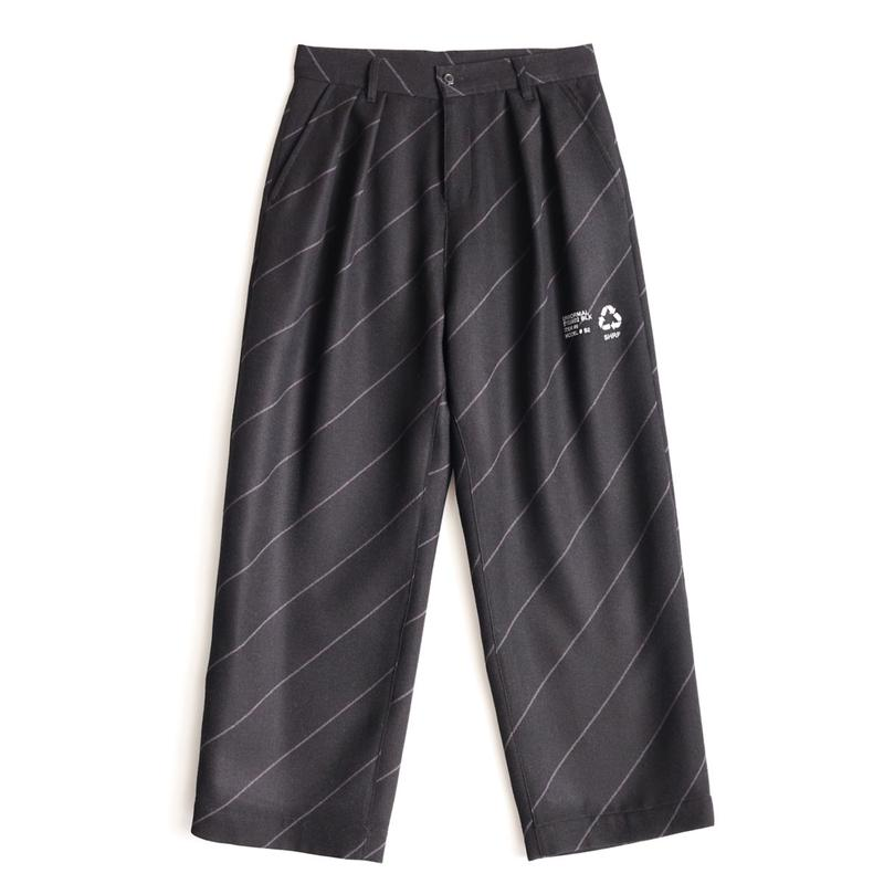 SHAREEF BIAS LINE WIDE PANTS(Black×Gray)