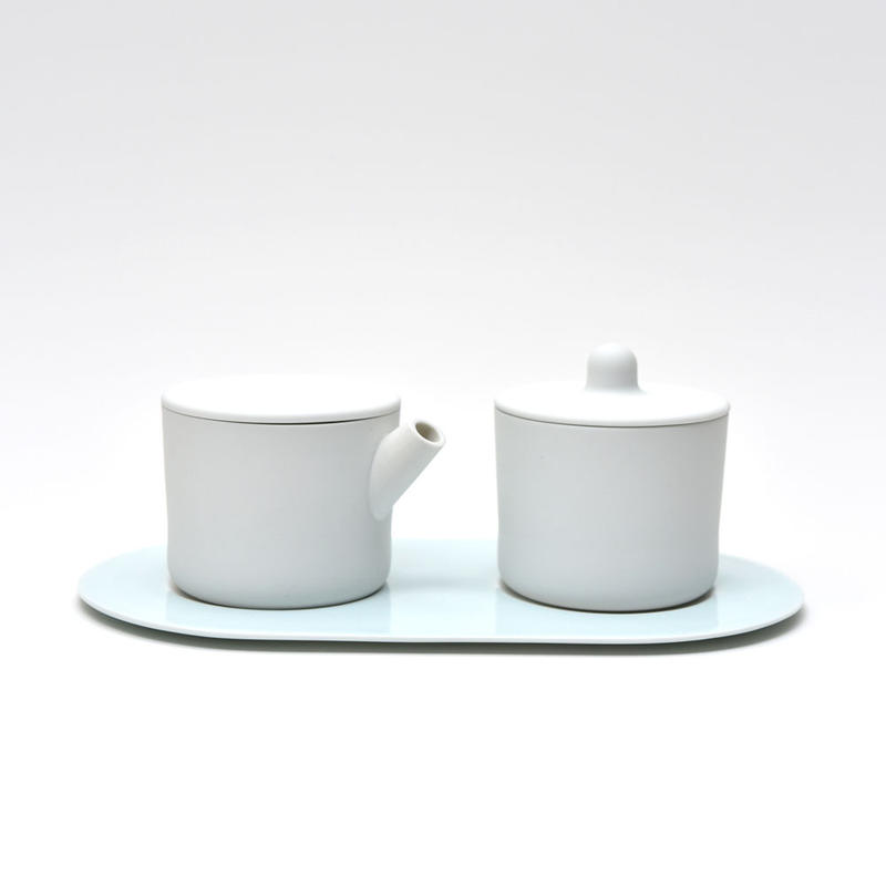 S&B Milk Can & Sugar Can & Platter Set / Plain White