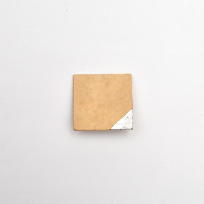 竹のブローチ 四角/銀箔