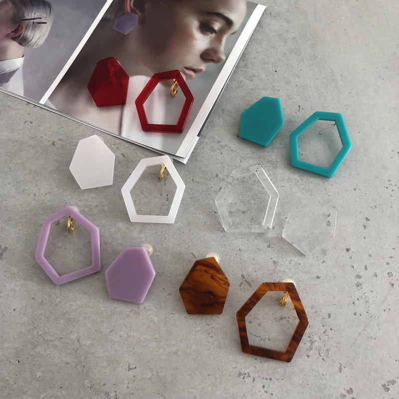 Hexagon large  earring