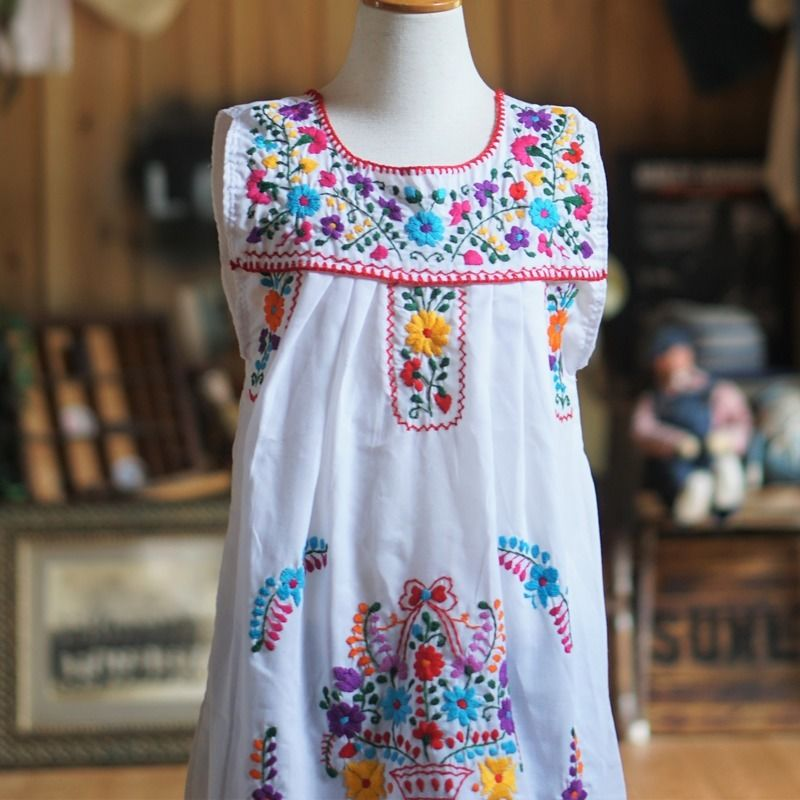 70sヴィンテージメキシコ刺繍ワンピース