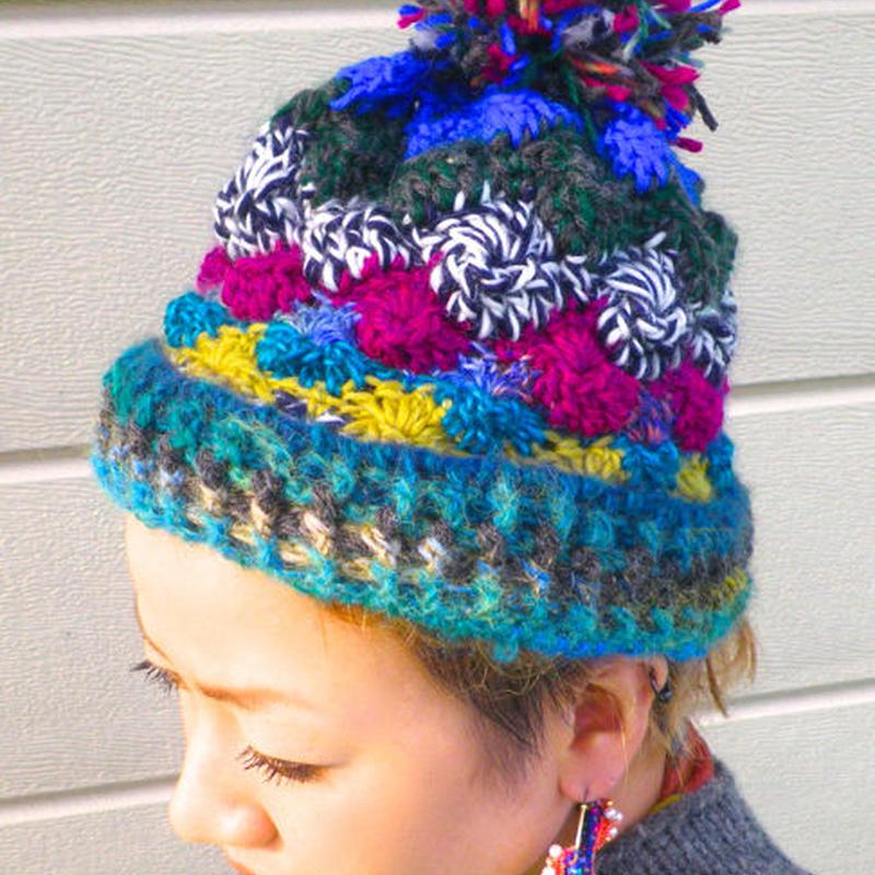 ブルー系ニット帽