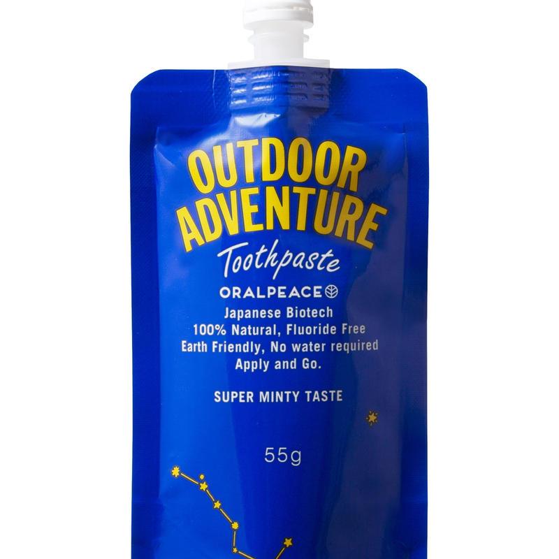 【NEW!!登山やキャンプ、水が貴重な環境でも。 水がなくてもお口すっきり。地球と体に優しい口腔ケアを!!】オーラルピース  アウトドア アドベンチャー トゥースペースト 55g