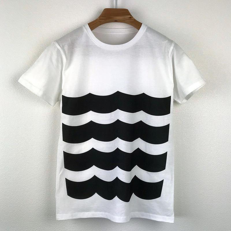 黒波図Tシャツ_白/スリムシルエット