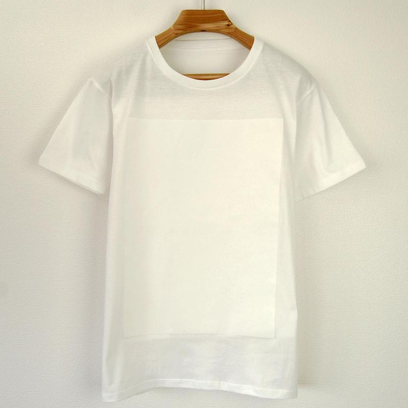 白角図Tシャツ_白(スリムシルエット /シルクスクリーンプリント)