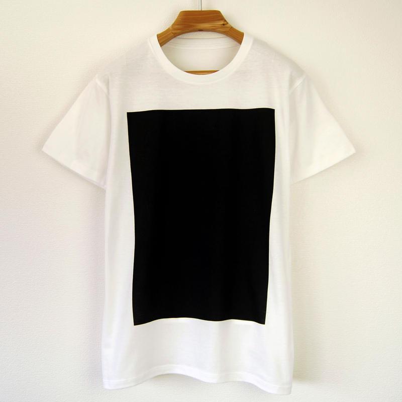 黒角図Tシャツ_白/スリムシルエット
