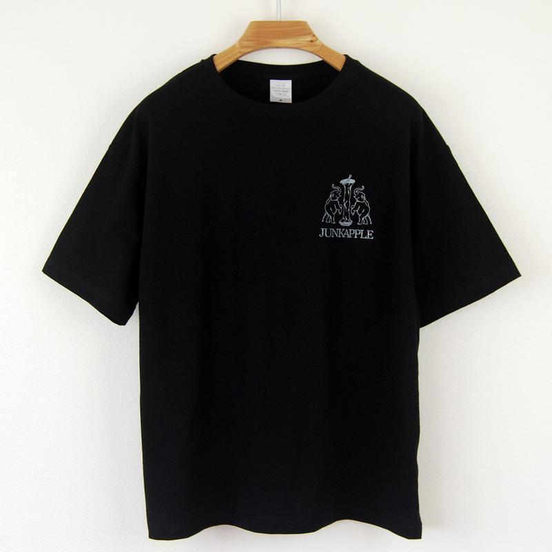 印図Tシャツ_黒/ビッグシルエット