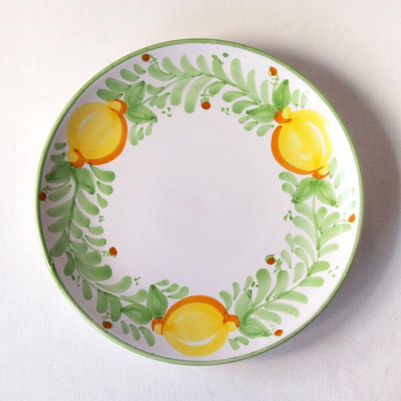 イタリア製 マヨリカ焼 プレート 21cm レモン柄(若草色)