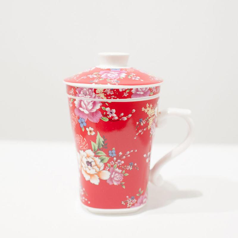 客家花柄マグカップ
