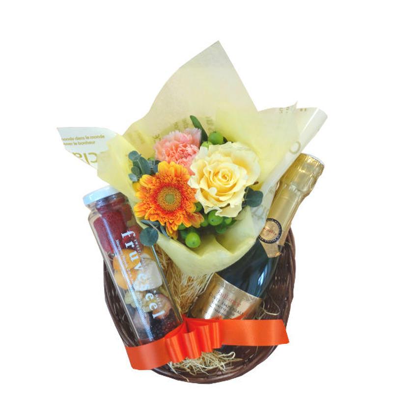 スパークリングワイン フリーズドライ ミックスフルーツと お花 ギフトセット フランス ミニボトル  黄色 オレンジ色 フラワーアレンジメント