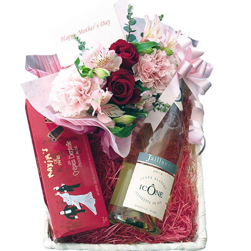 母の日 お花とワインお菓子のギフト 生花 フラワーアレンジメント フランスのスパークリングワイン やや甘口 750ml 「マキシム・ド・パリ」 チョコレートクッキー