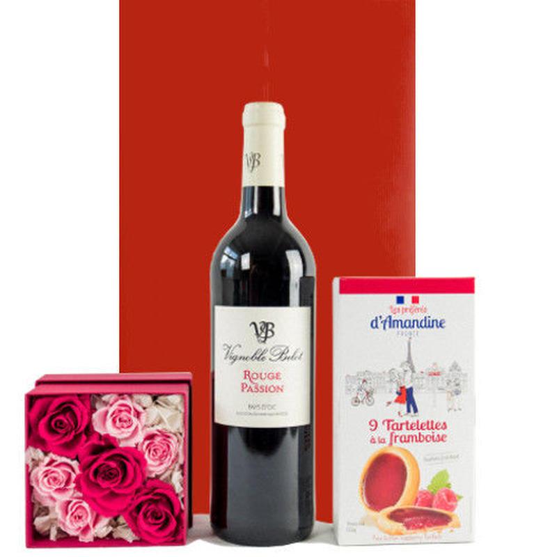 お花 スイーツ ギフトセット 南フランス 赤ワイン バラ プリザーブドフラワー クッキー 詰め合わせ