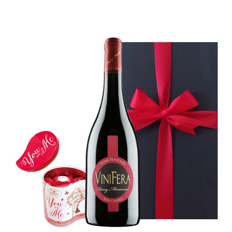 まだ間に合う 母の日 プレゼント ワインとスイーツ ギフト フランス 赤ワイン 750ml お菓子 ドイツ ヘーゼルナッツクリーム チョコレート ギフト箱入り