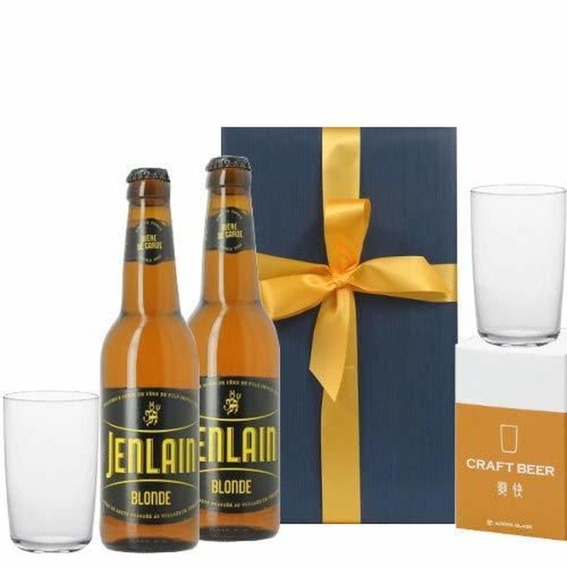 ビールとグラスのギフトセット フランス 地ビール 2本 ビール用 ペアグラス タンブラー 330ml タンブラー 箱入り リボン包装
