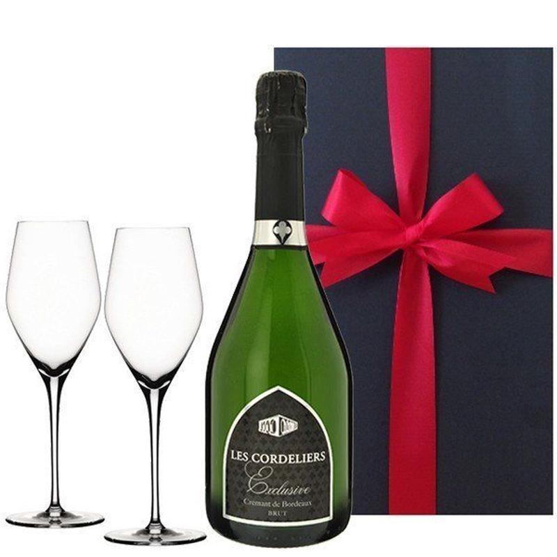 ペアギフト 2人で楽しめる お酒 ギフト スパークリングワインとペアグラスのセット フランス シャンパン製法 レ・コードリエ・ブリュット 750ml シャンパングラス