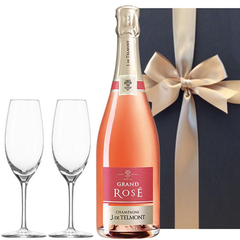 ワイン ギフト ロゼシャンパンとペアグラスのセット フランス シャンパーニュ グラン・ロゼ・ブリュット 750ml 結婚祝い 記念日 誕生日