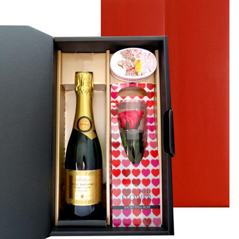 フランスのスパークリングワイン 375ml ピンク色の一輪バラ プリザーブドフラワー バラのキャンディーのセット