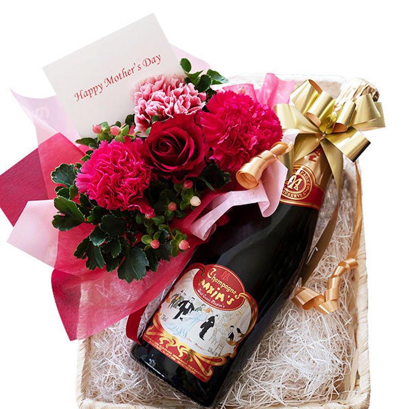 プレゼント 花 アレンジメント 赤 ピンク カーネーション ワインとフラワーアレンジ ギフト マキシム・ド・パリ 高級シャンパン 辛口 750ml 生花 バスケット入り