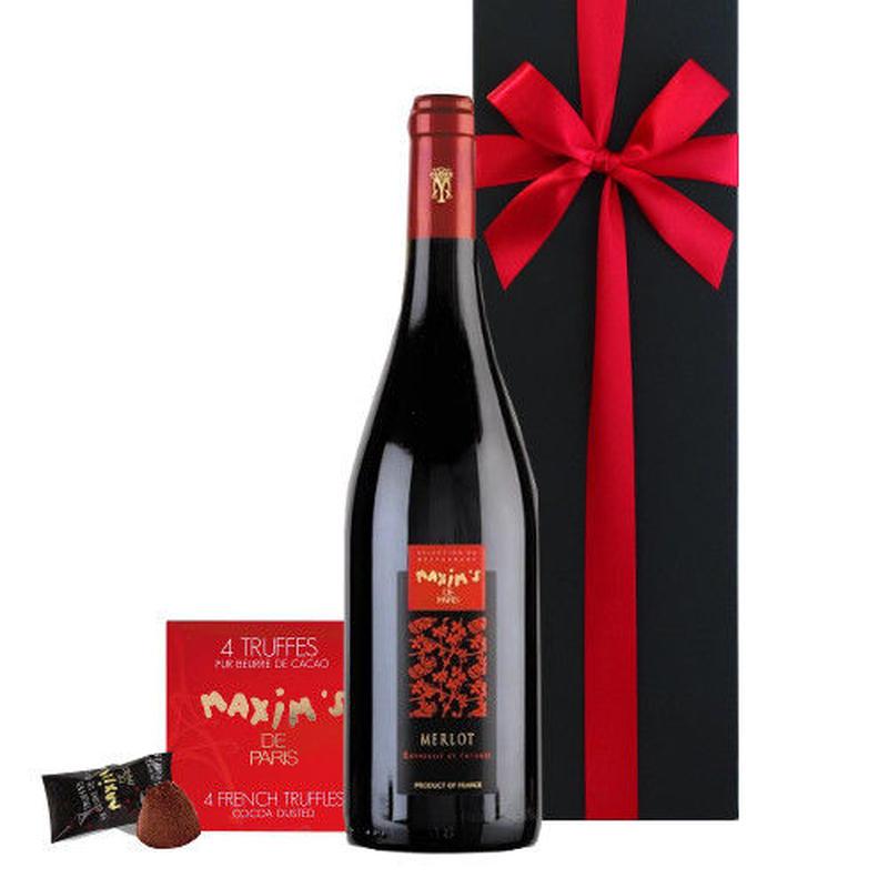 ワインとスイーツのギフト フランス 有名ブランド 「マキシム・ド・パリ」 赤ワイン メルロー 750ml トリュフチョコレート お菓子 誕生日