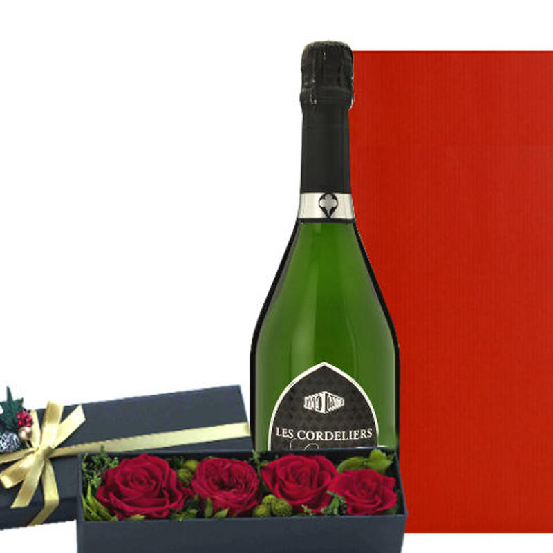 """フランスのスパークリングワインと深紅のバラのプリザーブドフラワ ー """"Les Cordeliers Exclusive Brut"""" 750ml 記念日 お祝い"""