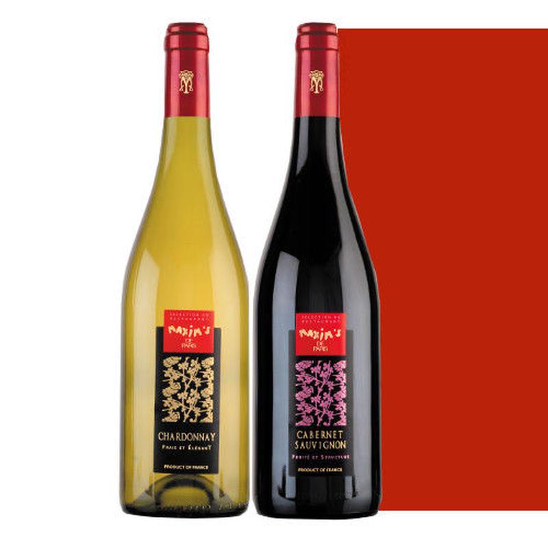 フランスワインセット 高級ブランド マキシム・ド・パリ 紅白ワイン 赤ワイン カベルネ・ソーヴィニヨン 白ワイン シャルドネ 750ml×2本 ギフト箱入り
