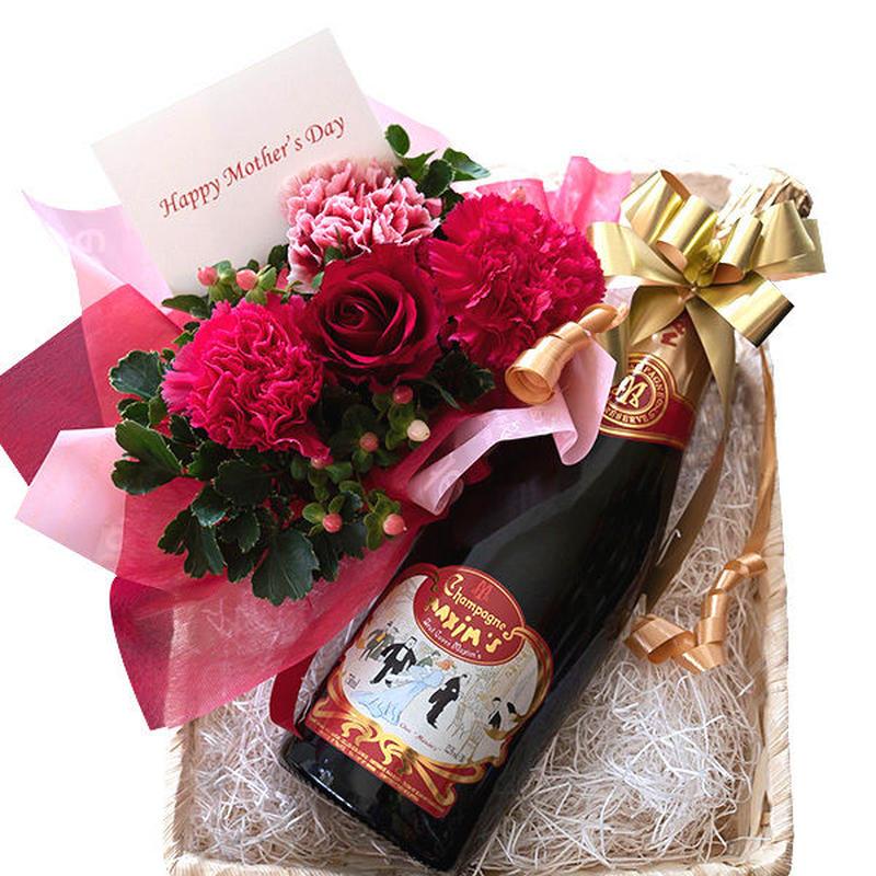 母の日 プレゼント 花 アレンジメント 赤 ピンク カーネーション ワインとフラワーアレンジ ギフト マキシム・ド・パリ 高級シャンパン 辛口 750ml 生花 バスケット入り