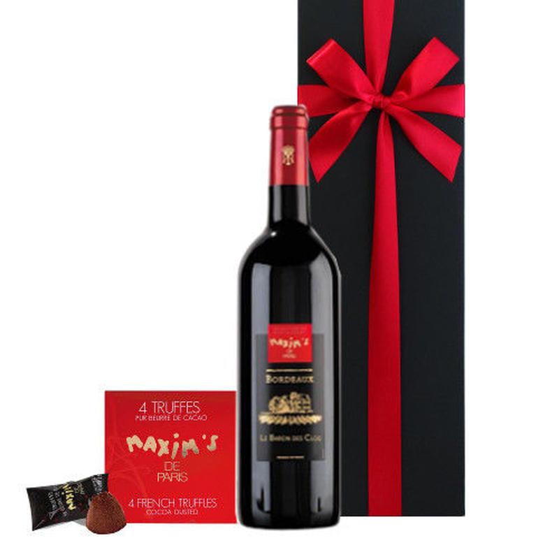 ワインとスイーツのギフトセット お酒 ボルドー 赤ワイン トリュフチョコレート フランス 有名ブランド マキシム・ド・パリ 375ml