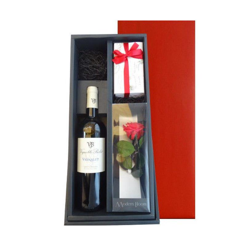 ギフトセット フランス ラングドック 赤ワイン 東京 チョコレート専門店 焼菓子 5種 プリザーブドフラワー 赤い薔薇 一輪挿し付き 結婚祝い 記念日 ラッピング付き