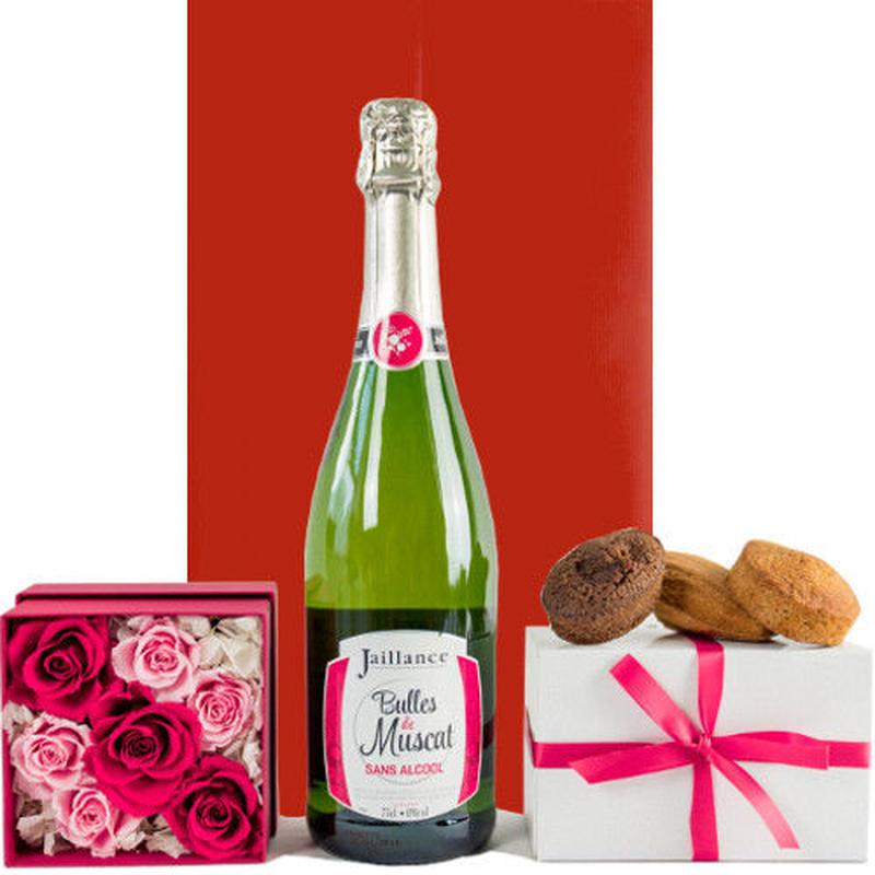 フラワーギフトセット フランス ノンアルコールスパークリング バラのプリザーブドフラワーボックス 焼き菓子