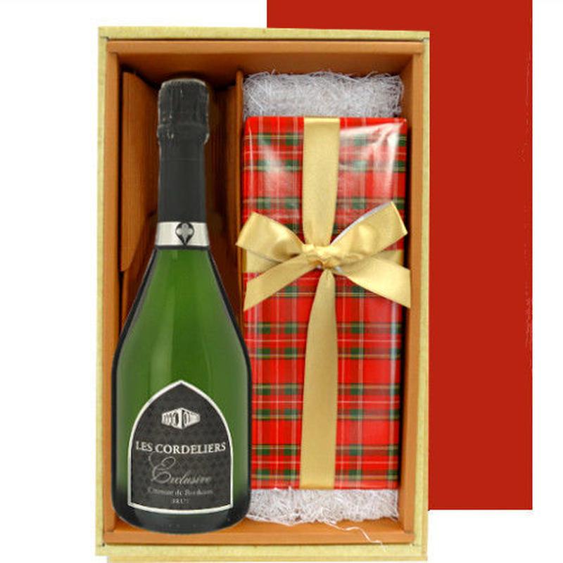 ワインとスイーツのギフト フランスの辛口スパークリングワイン750ml ドイツ  チョコレートパウンドケーキ チェリーブランデー風味 贈り物