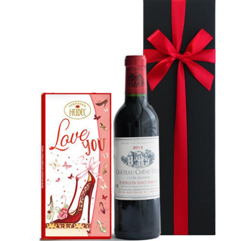 遅れてごめんね 母の日 プレゼント スイーツ チョコレート ワインとお菓子 ギフト ボルドー フランス 赤ワイン ハーフボトル 375ml ドイツ ハイデル 板チョコ