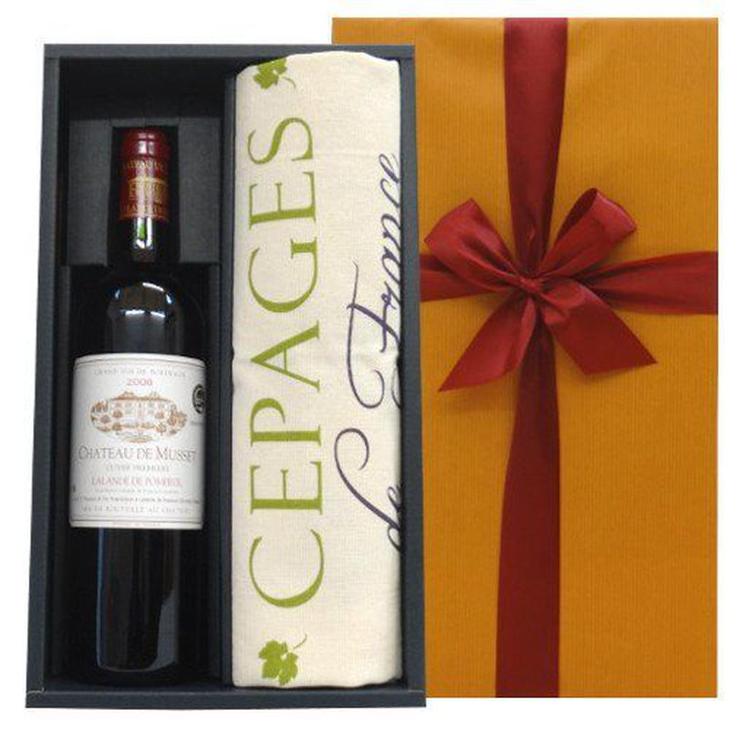 ワインとキッチンリネンのギフト ボルドー ポムロール 赤ワイン「シャトー・デュ・ミュッセ」2007年 ワインのブドウ柄のフランス製クロス