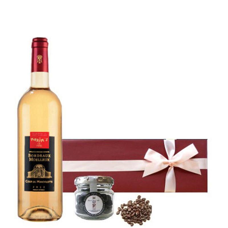 ワイン とチョコレートのギフトセット フランスの高級ブランド 「マキシム・ド・パリ」のボルドー 白ワイン やや甘口 375ml 貴腐ワイン漬けレーズンチョコレート