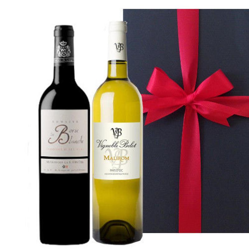 【送料無料】フランス 赤白ワイン 2本ギフトセット 南フランス  シラー グルナッシュ 750ml×2本
