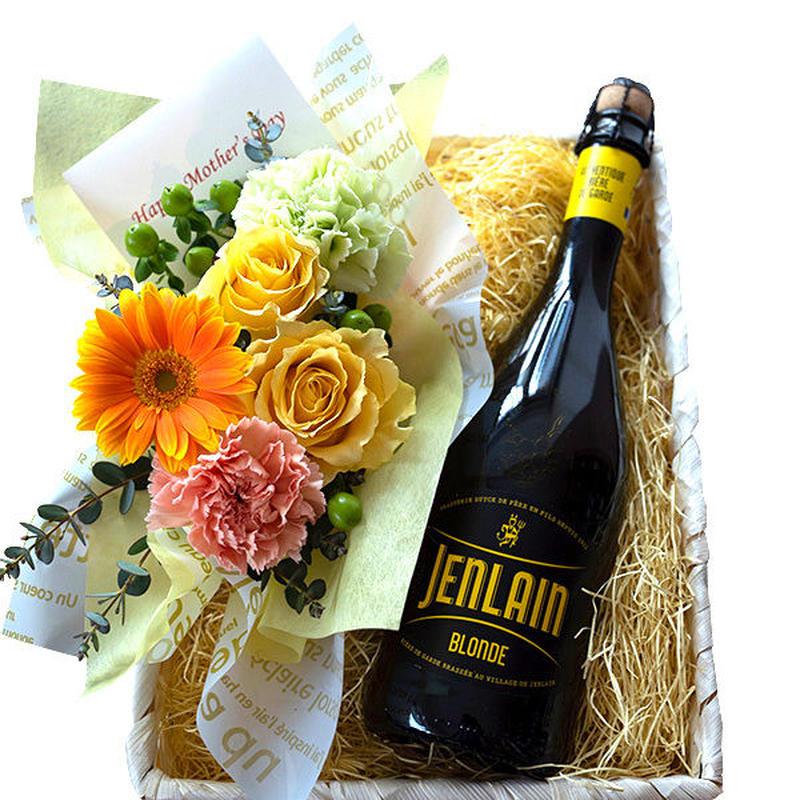 父の日 ビールとお花のギフト 北フランス クラフトビール ジャンラン ブロンド 750ml 生花 フラワーアレンジメント バスケット入り
