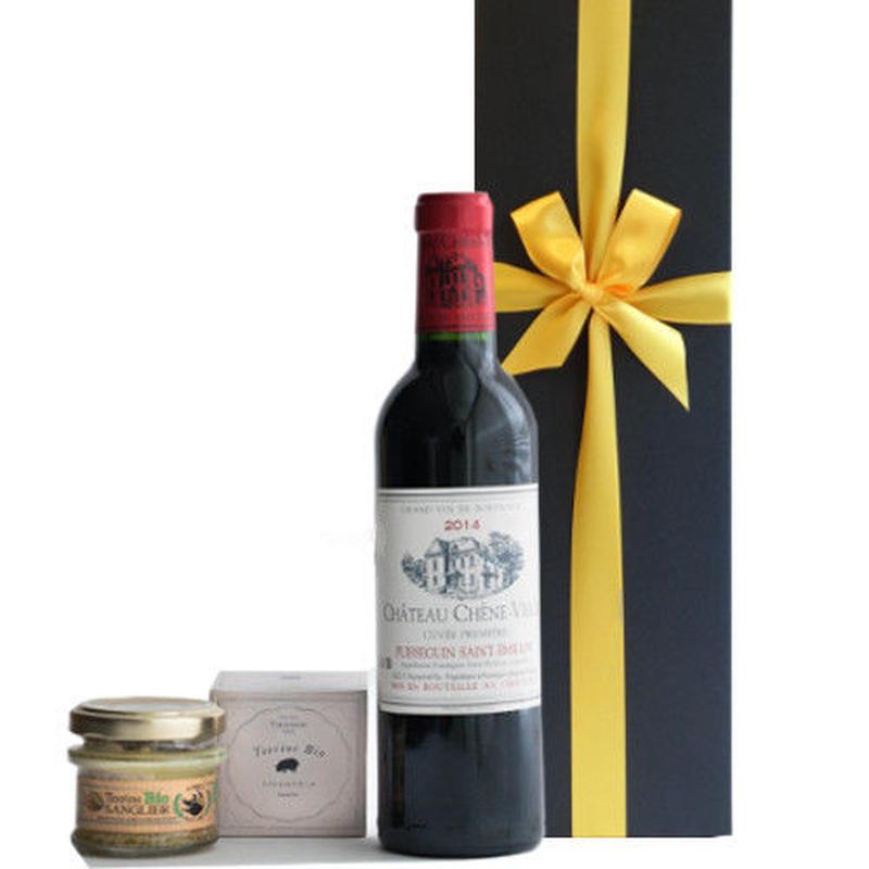 ワインとおつまみセット フランス ボルドー 赤ワイン ハーフボトル 375ml 辛口 2009年 フランス ヘーゼルナッツと白ワイン風味のテリーヌ オーガニック 誕生日 内祝い