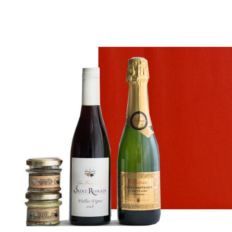 豪華なギフトセット!フランスワインとおつまみテリーヌ 詰合せ スパークリングワイン やや甘口 ブルゴーニュ赤ワイン 辛口 375ml  2種類のオーガニックのパテセット