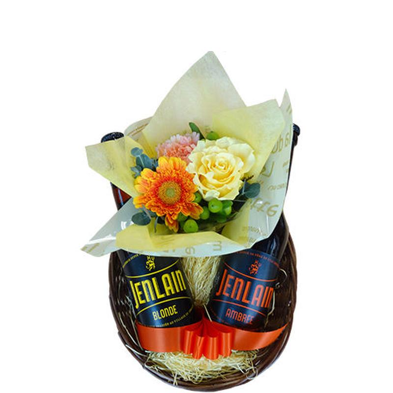 父の日 フランス 地ビール2本とフラワーアレンジメントのバスケットギフト 【ビール組み合わせ自由】お花 クラフトビール 330ml 2本 プレゼント オレンジ系のお花のセット